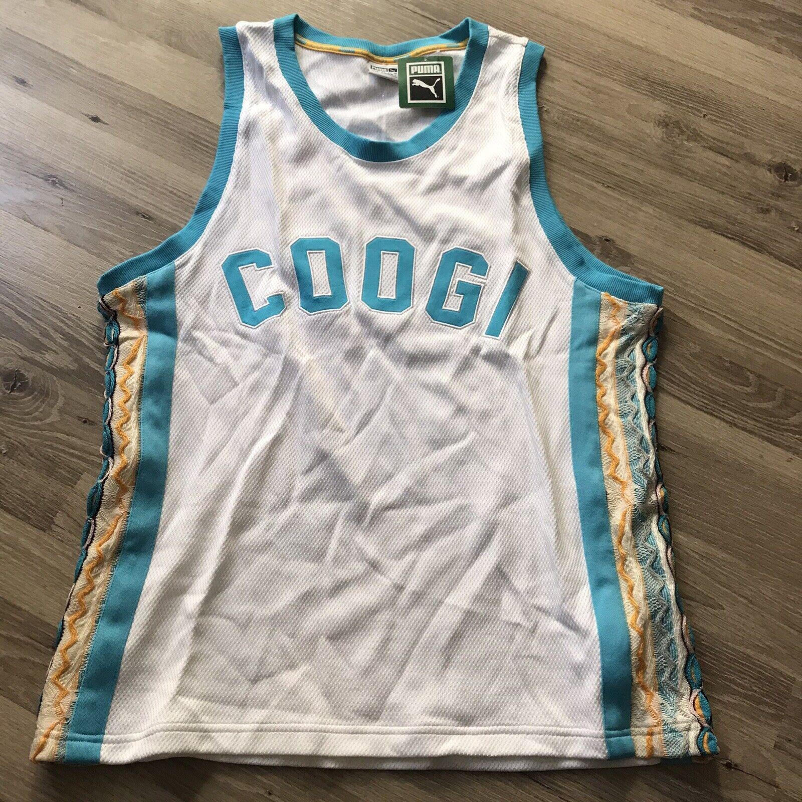 Puma x Coogi Archive Knit Tank Top Jersey White Blue Atoll Mens L NEW $120