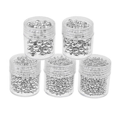 5 Bottles Stainless Steel Loose Spacer Bead DIY Assorted 2mm-5mm Silver LOT