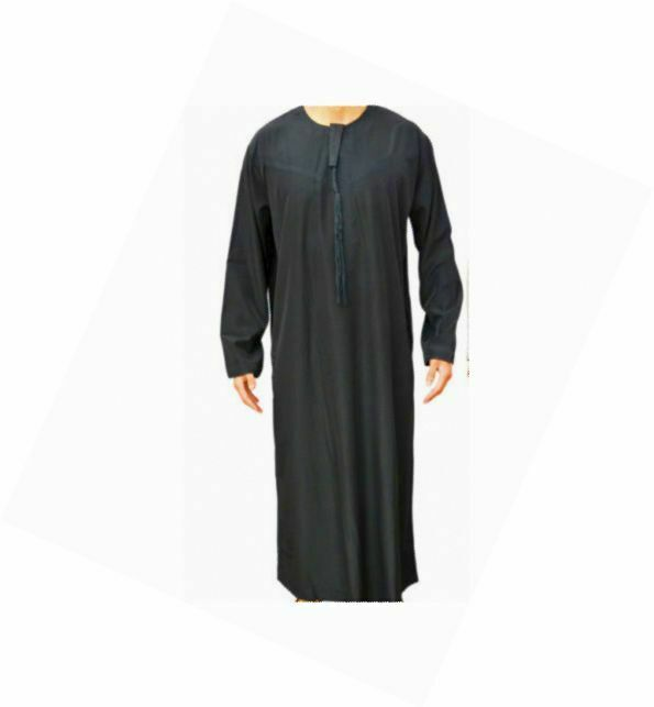 Omani Style Boys Full Length Jubbah, Muslim Arab ThobeThawb Kaftan Saudi Black