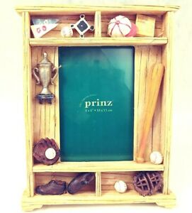 Prinz-Little-League-Baseball-Frame-3-D-Resin-for-4x6-034-Photo-Collectible-Vtg-NEW