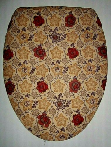 TAN W// RUST ROSES LINED COTTON ELONGATED TOILET SEAT LID COVER