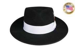 b93a100a54d11 BLACK ZOOT Fedora Hat WHITE BAND NEW Shannon Phillips NHT19-01W