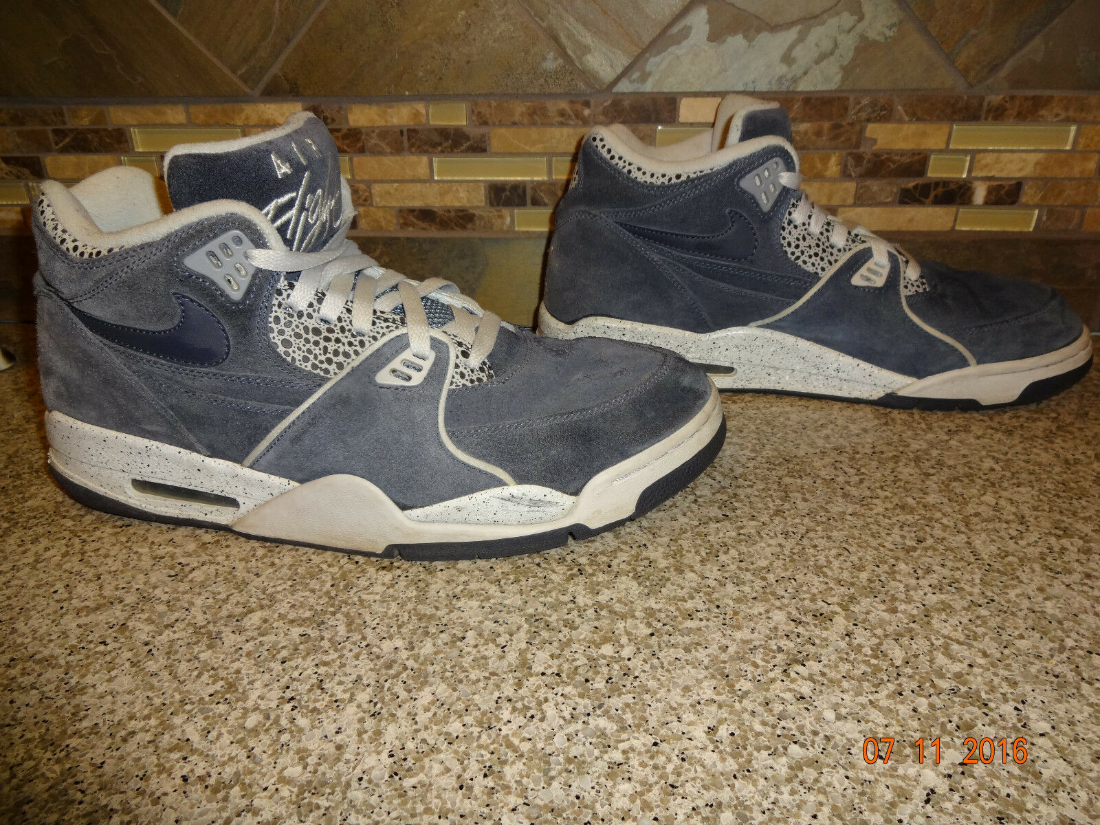 Mens NIKE Air Flight Hi Sz 12 Grey Basketball Athletic Hi Flight Low Top Shoes af9b55