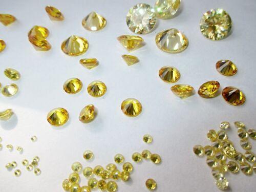 10 CZ Gelb Yellow 1,0 mm Cubic Zirkonia Brillantschliff synthetische Edelsteine