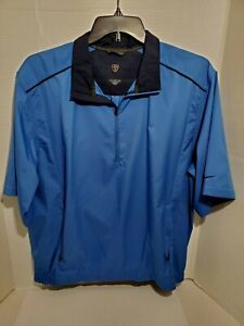 NIKE-Golf-Jacket-Mens-Large-Light-Weight-Pull-Over-Wind-Breaker-Short-Sleeve