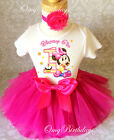 Minnie Mouse Hot Pink Baby Girl 1st First Birthday Tutu Outfit Shirt Set Age 1