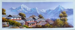 "MOUNT ANNAPURNA AND GHANDRUK ORIGINAL ACRYLIC PAINTING ON CANVAS 11"" x 30"""