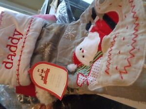 Pottery Barn Kids Quilted Santa Christmas Gray Stocking