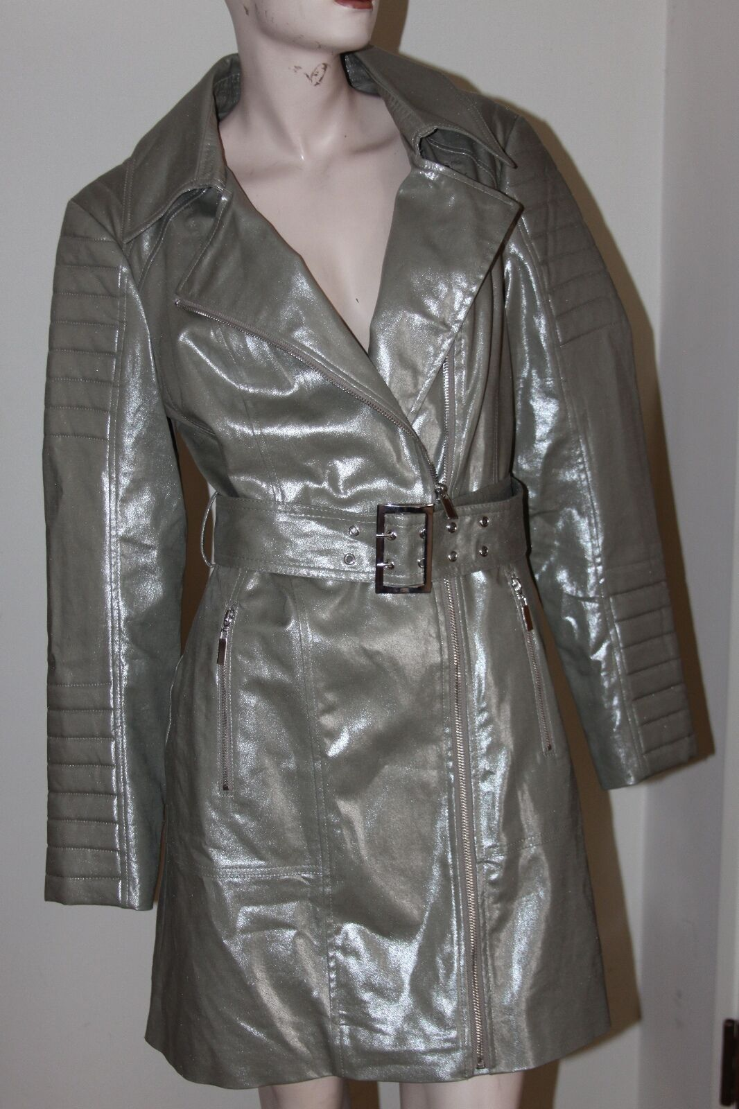 Bebe MULTI QUILT MOTO TRENCH SIZE M
