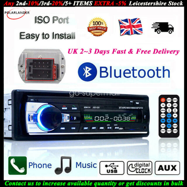 Bluetooth Car Head Player Radio Stereo UK MP3 USB SD AUX-IN FM iPhone Android