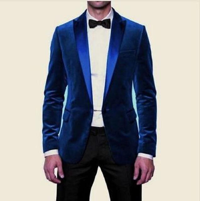 Men Blue Velvet Coat Jacket Blazer Wedding Grooms Tuxedo Dinner