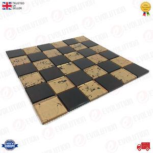 30-x-30-cm-GLASS-MOSAIC-WALL-TILES-SHEET-BLACK-amp-GOLD-CHECKERED-PATTERN-1-PC