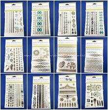 10 sheets boho festival party favor flash gold silver metallic temporary tattoo