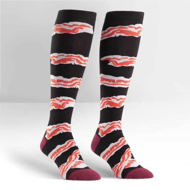 Sock It To Me Women's Funky Knee High Socks - Bacon