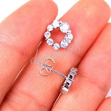 925 Sterling Silver Star + Crystal Small Hoop Stud Earrings 6mm * 16mm H1029