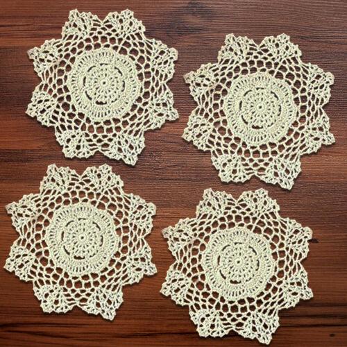 4Pcs/Lot Vintage Lace Doilies Hand Crochet Cotton Table Mats Cup Coasters 20cm