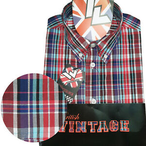 Warrior-UK-England-Button-Down-Shirt-MORWELL-Slim-Fit-Skinhead-Mod-Retro