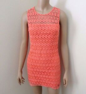 47ea9d48713c NWT Hollister Womens Lace Mini Dress Size 00 XS Coral Fitted Crochet ...