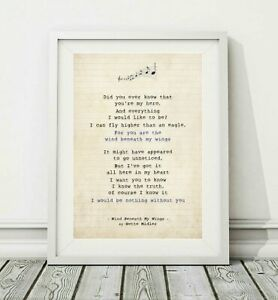 257 Bette Midler Wind Beneath My Wings Song Lyric Poster Print Sizes A4 A3 Ebay