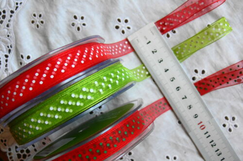 Sheer SPOTS Single Sided Mixed 3 colours 13//14mm wide 5 metre length MultiList