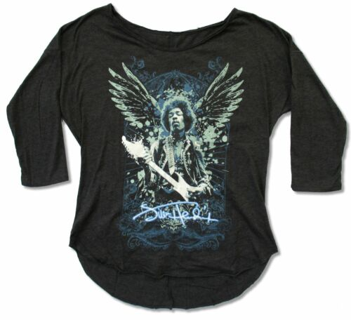Jimi Hendrix Wings Girls Juniors Grey 3//4 Sleeve T Shirt New Official
