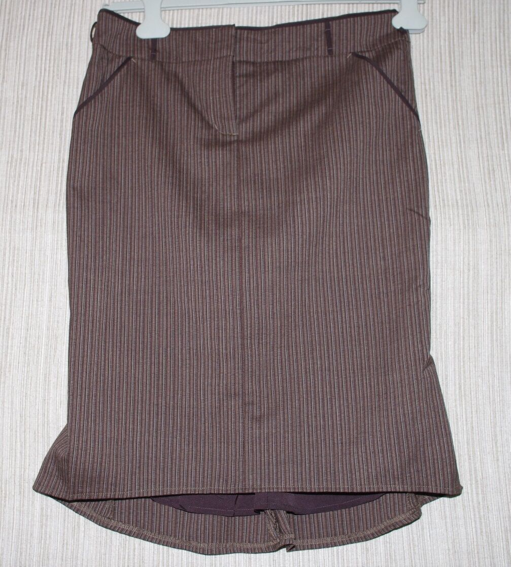 BCBG MAX AZRIA JOEY BROWN WOOL STRETCH ASYMMETRICAL STRIPED SKIRT SIZE 4