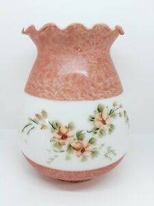 Oil-Electric-Milk-Glass-Lamp-Shade-Hand-Painted-Pink-Flowers-GWTW-Hurricane