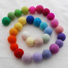 100% Wool Felt Balls - 3cm - 30 Felt Balls - Assorted Light & Bright Colours