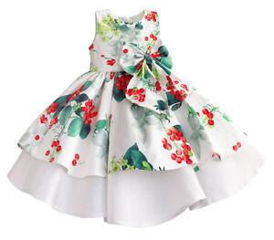 separation shoes a7ae0 8e0e7 Dettagli su Vestito Compleanno Cerimonia Abito Bambina Stampa Fiori Girl  Party Dress DGZF056