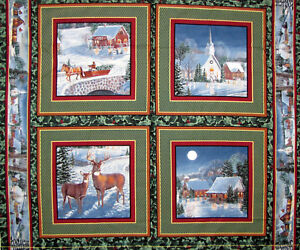 Fabric Springs Christmas Winter Eve Sleigh Horses Church Deer Panels