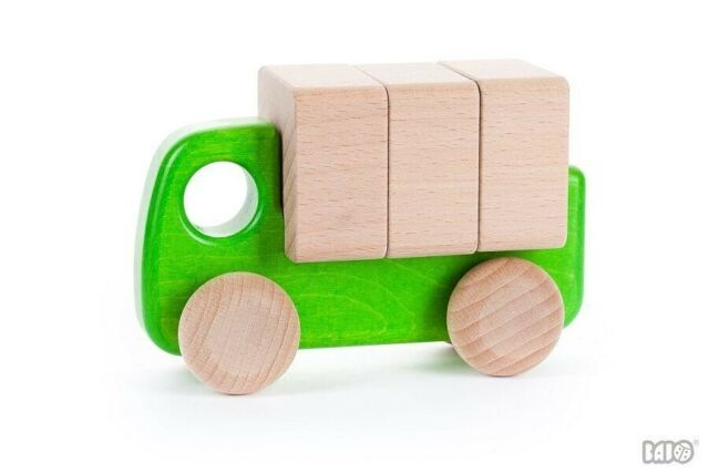Wooden car with blocks **NEW in box