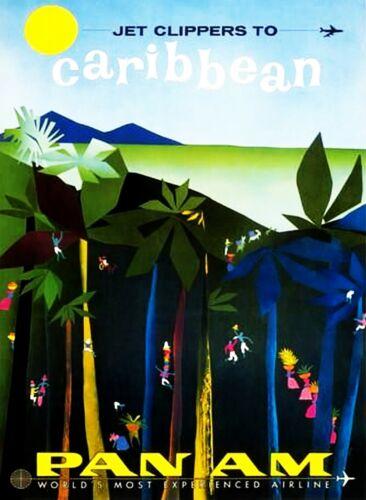 Mer des Caraïbes aimant de réfrigérateur poster Vintage Rétro Mignon Art City Cadeau photo HOME