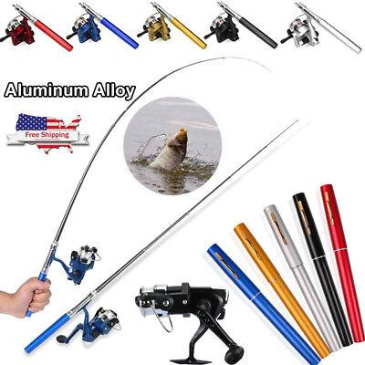 Mini Portable Pocket Fish Pen Shape Aluminum Alloy Fishing Rod Pole Reel 5 Color