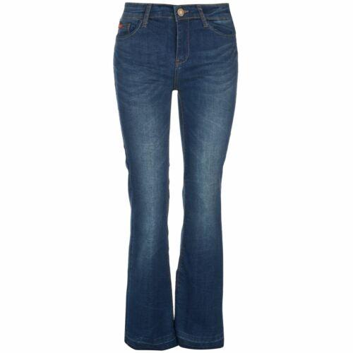 Lee Cooper Womens Flare Hem Jeans Bootcut Pants Trousers Bottoms Lightweight Zip