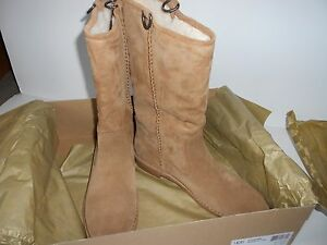 the best attitude e47ca a5cca Details about BRAND NEW IN BOX 12 M UGGS SOFT ULTRA PLUSH TALL CAMEL SUEDE  SHEARLING INSIDE