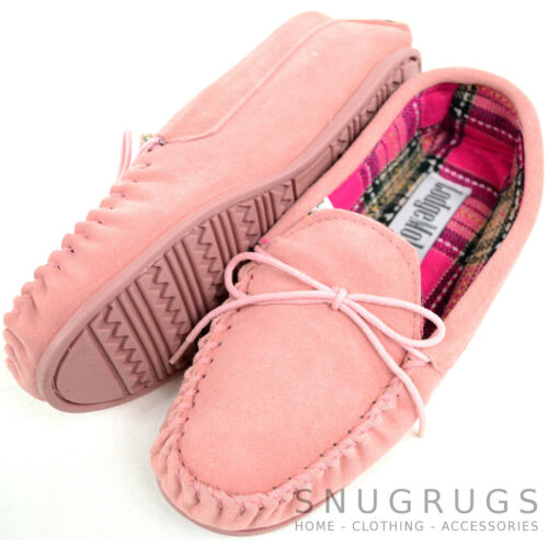 Womens Genuine Suede Leather Moccasin Slippers with Rubber Sole Ladies