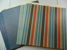 Graphic 45 Scrapbook Paper 12x12 Souvenir Stripe Lot of 50 Double Sided Sheets!