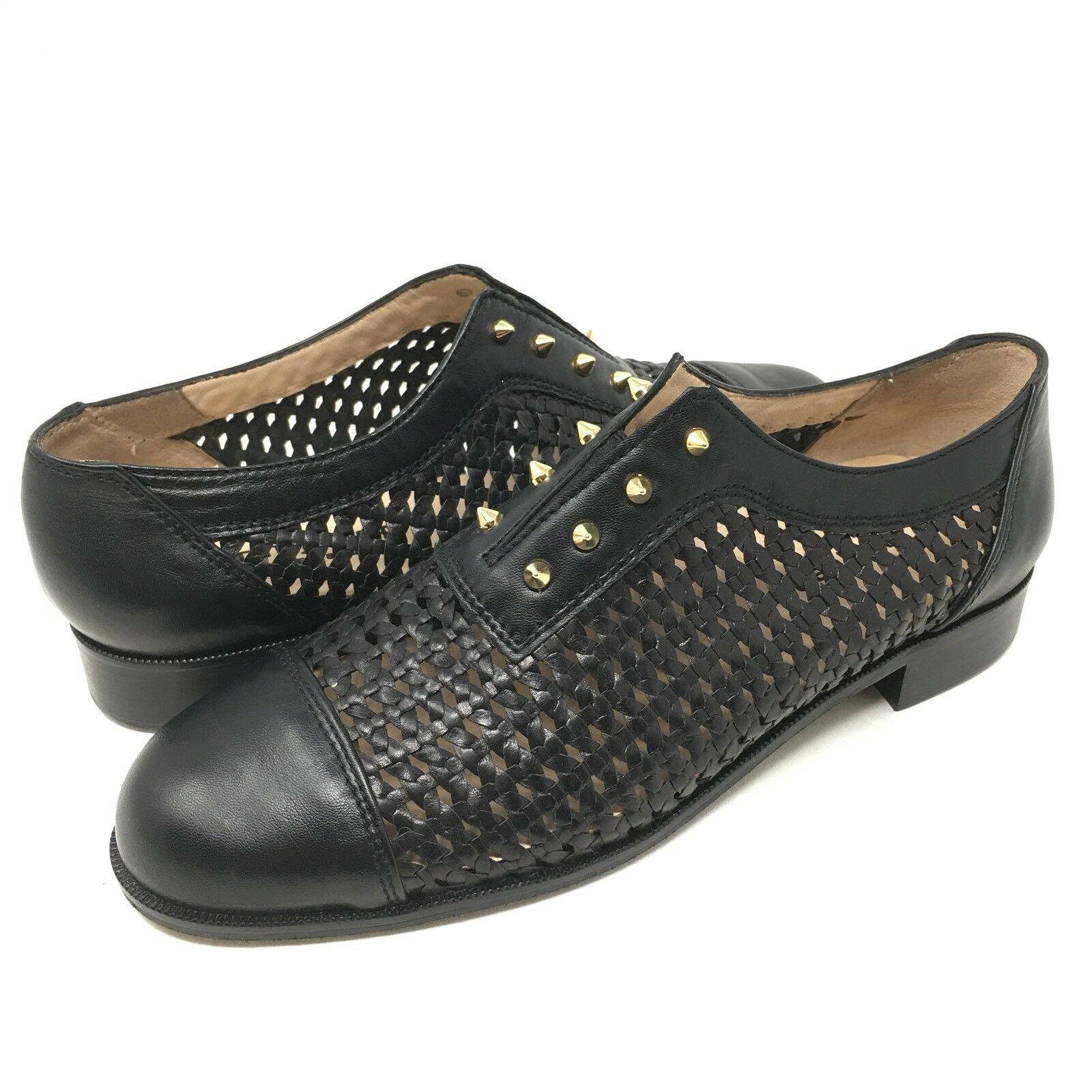 Jon Josef Mallorca Weaved Cap Women's Toe Studded Leather Loafer Women's Cap Size 8M fe91a8