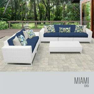 Amazing Details About Tk Classic Miami 6 Piece Wicker Patio Sofa Set In Blue Cjindustries Chair Design For Home Cjindustriesco
