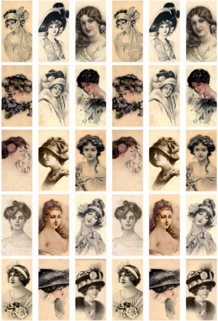 30 LADIES SEPIA - WOMEN VINTAGE 155 LB PAPER CRAFT CARD SCRAPBOOK TAG *