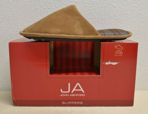 John Ashford Men/'s Scuff Slip-On Cushioned Slippers Black or Brown Size S M L XL