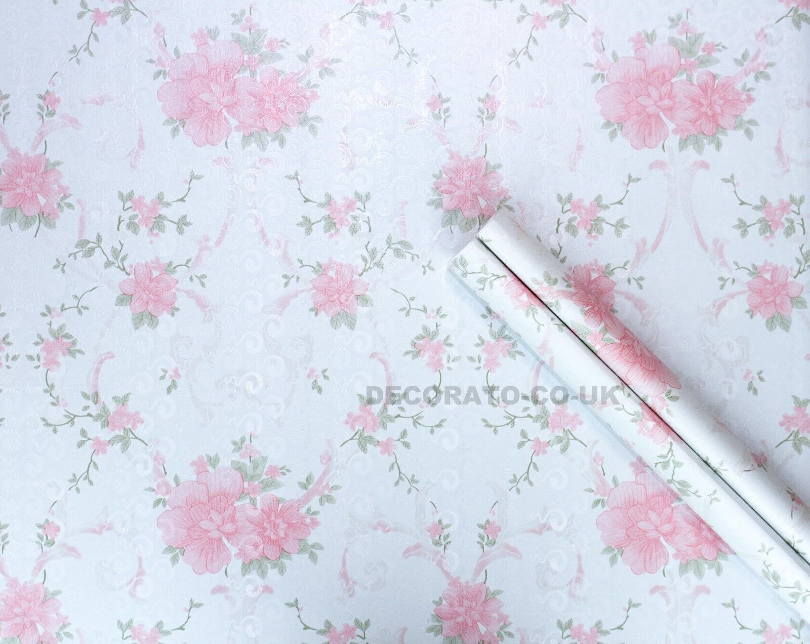 Details About Shabby Chic Pink Floral Sticky Back Plastic Pvc Wallpaper Vintage French Country