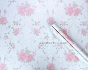 Image Is Loading SHABBY CHIC PINK FLORAL STICKY BACK PLASTIC PVC