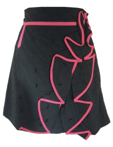 Womens Karen Millen Broderie Cotton Ruffle Frill Skirt Ladies Pink Black UK Size