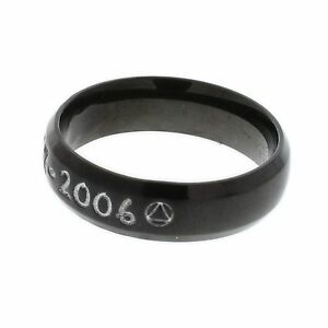 Stainless-Steel-Black-Sobriety-Ring-With-Clean-and-Sober-Date-AA-Sobriety-Symbol