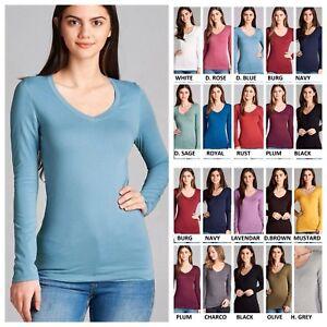 Details about Women Junior Plus Size Basic V-Neck Long Sleeve Cotton Span  Top Tunic T-Shirt