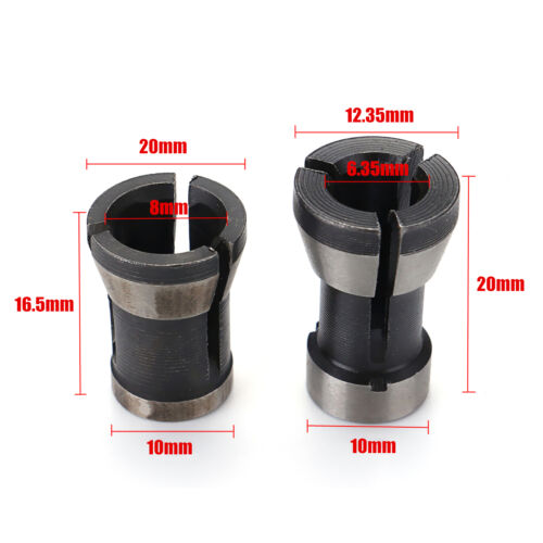 2Pcs Collet Chuck Adapter Engraving Trimming Machine Electric Router 6.35mm/&8mm
