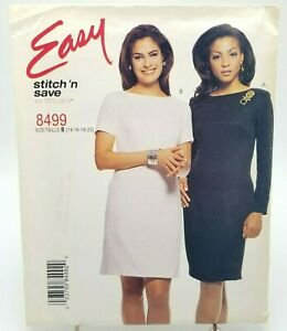 Easy-Plus-Size-Classic-Fitted-Dress-Sewing-Pattern-8499-McCalls-14-16-18-20