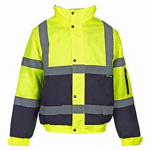 Para-hombre-Bomber-Hi-Viz-Impermeable-Acolchado-De-2-Tonos-Workwear-seguridad-Tamano-s-4xl