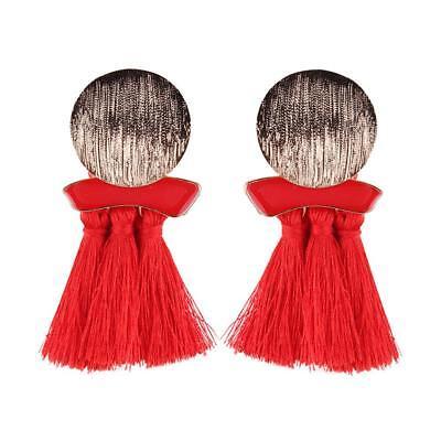 Mujer Bohemia 6 colores flecos Pendientes de botón Aretes Colgante borla Earring